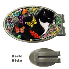 Freckles In Butterflies I, Black White Tux Cat Money Clips (oval)  by DianeClancy