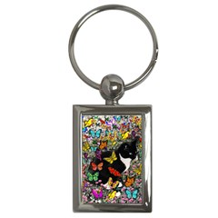 Freckles In Butterflies I, Black White Tux Cat Key Chains (rectangle)  by DianeClancy