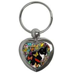 Freckles In Butterflies I, Black White Tux Cat Key Chains (heart)  by DianeClancy