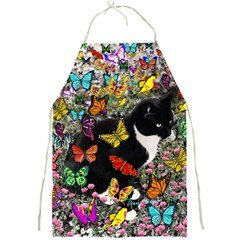 Freckles In Butterflies I, Black White Tux Cat Full Print Aprons by DianeClancy