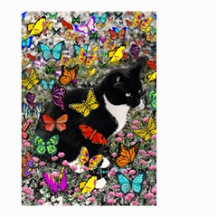 Freckles In Butterflies I, Black White Tux Cat Small Garden Flag (two Sides) by DianeClancy