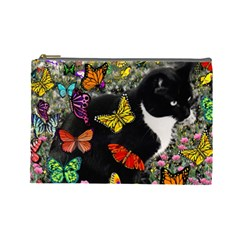 Freckles In Butterflies I, Black White Tux Cat Cosmetic Bag (large)  by DianeClancy
