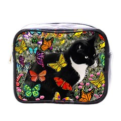 Freckles In Butterflies I, Black White Tux Cat Mini Toiletries Bags by DianeClancy