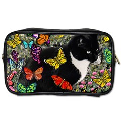Freckles In Butterflies I, Black White Tux Cat Toiletries Bags by DianeClancy
