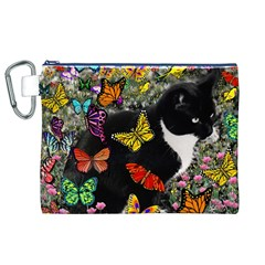Freckles In Butterflies I, Black White Tux Cat Canvas Cosmetic Bag (xl) by DianeClancy