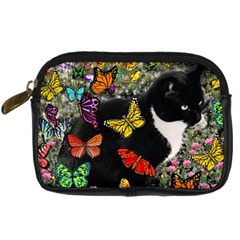 Freckles In Butterflies I, Black White Tux Cat Digital Camera Cases by DianeClancy