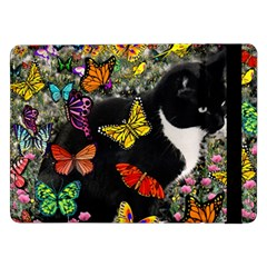 Freckles In Butterflies I, Black White Tux Cat Samsung Galaxy Tab Pro 12 2  Flip Case by DianeClancy