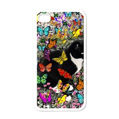 Freckles In Butterflies I, Black White Tux Cat Apple Iphone 4 Case (white) by DianeClancy