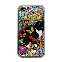 Freckles In Butterflies I, Black White Tux Cat Apple Iphone 4 Case (clear) by DianeClancy