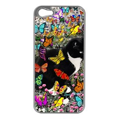 Freckles In Butterflies I, Black White Tux Cat Apple Iphone 5 Case (silver) by DianeClancy
