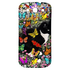 Freckles In Butterflies I, Black White Tux Cat Samsung Galaxy S3 S Iii Classic Hardshell Back Case by DianeClancy
