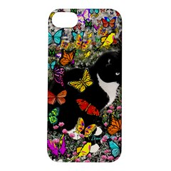 Freckles In Butterflies I, Black White Tux Cat Apple Iphone 5s/ Se Hardshell Case by DianeClancy