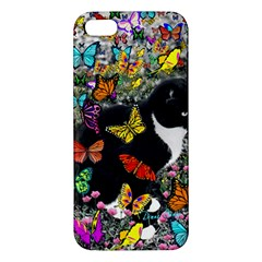 Freckles In Butterflies I, Black White Tux Cat Iphone 5s/ Se Premium Hardshell Case by DianeClancy