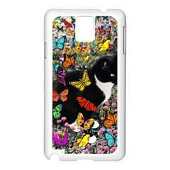 Freckles In Butterflies I, Black White Tux Cat Samsung Galaxy Note 3 N9005 Case (white) by DianeClancy