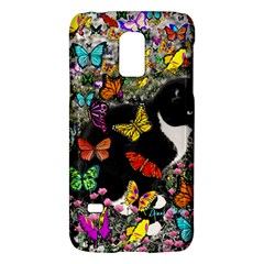 Freckles In Butterflies I, Black White Tux Cat Galaxy S5 Mini by DianeClancy