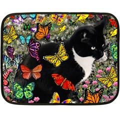 Freckles In Butterflies I, Black White Tux Cat Double Sided Fleece Blanket (mini)  by DianeClancy
