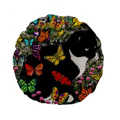 Freckles In Butterflies I, Black White Tux Cat Standard 15  Premium Round Cushions by DianeClancy