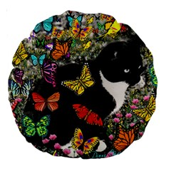 Freckles In Butterflies I, Black White Tux Cat Large 18  Premium Round Cushions by DianeClancy