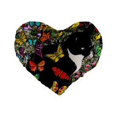 Freckles In Butterflies I, Black White Tux Cat Standard 16  Premium Flano Heart Shape Cushions by DianeClancy
