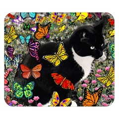 Freckles In Butterflies I, Black White Tux Cat Double Sided Flano Blanket (small)  by DianeClancy