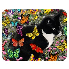 Freckles In Butterflies I, Black White Tux Cat Double Sided Flano Blanket (medium)  by DianeClancy