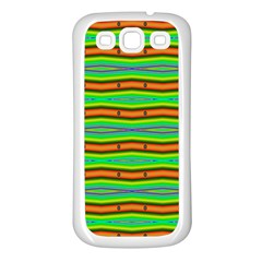 Bright Green Orange Lines Stripes Samsung Galaxy S3 Back Case (white) by BrightVibesDesign