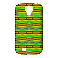 Bright Green Orange Lines Stripes Samsung Galaxy S4 Classic Hardshell Case (pc+silicone) by BrightVibesDesign