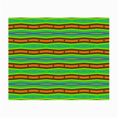 Bright Green Orange Lines Stripes Small Glasses Cloth (2 Side) by BrightVibesDesign