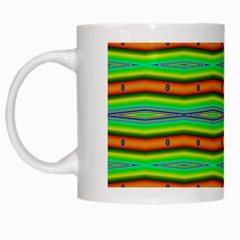 Bright Green Orange Lines Stripes White Mugs by BrightVibesDesign