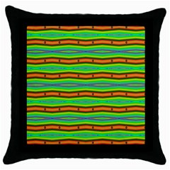 Bright Green Orange Lines Stripes Throw Pillow Case (black) by BrightVibesDesign