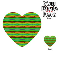 Bright Green Orange Lines Stripes Multi Purpose Cards (heart)  by BrightVibesDesign