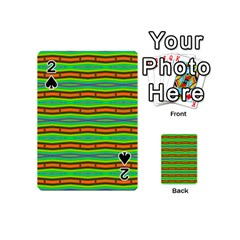 Bright Green Orange Lines Stripes Playing Cards 54 (mini)  by BrightVibesDesign