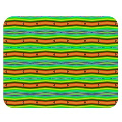 Bright Green Orange Lines Stripes Double Sided Flano Blanket (medium)  by BrightVibesDesign