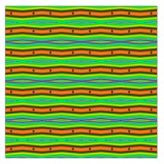Bright Green Orange Lines Stripes Large Satin Scarf (square) by BrightVibesDesign