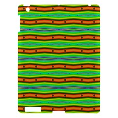 Bright Green Orange Lines Stripes Apple Ipad 3/4 Hardshell Case by BrightVibesDesign