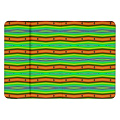 Bright Green Orange Lines Stripes Samsung Galaxy Tab 8 9  P7300 Flip Case by BrightVibesDesign