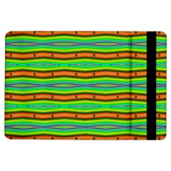 Bright Green Orange Lines Stripes Ipad Air Flip by BrightVibesDesign