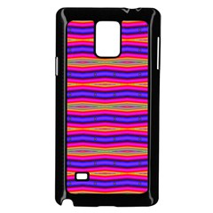 Bright Pink Purple Lines Stripes Samsung Galaxy Note 4 Case (Black) by BrightVibesDesign