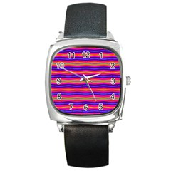 Bright Pink Purple Lines Stripes Square Metal Watch by BrightVibesDesign