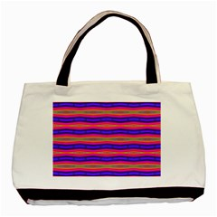 Bright Pink Purple Lines Stripes Basic Tote Bag by BrightVibesDesign