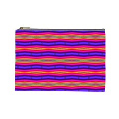 Bright Pink Purple Lines Stripes Cosmetic Bag (large)  by BrightVibesDesign