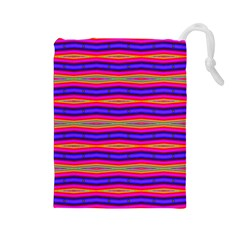 Bright Pink Purple Lines Stripes Drawstring Pouches (large)  by BrightVibesDesign