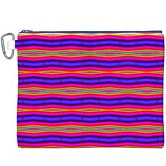 Bright Pink Purple Lines Stripes Canvas Cosmetic Bag (xxxl) by BrightVibesDesign