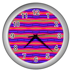 Bright Pink Purple Lines Stripes Wall Clocks (silver)  by BrightVibesDesign