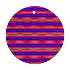 Bright Pink Purple Lines Stripes Round Ornament (two Sides)  by BrightVibesDesign