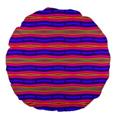 Bright Pink Purple Lines Stripes Large 18  Premium Round Cushions by BrightVibesDesign