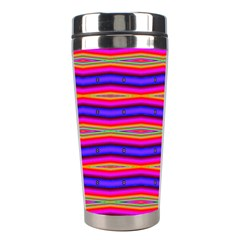 Bright Pink Purple Lines Stripes Stainless Steel Travel Tumblers by BrightVibesDesign