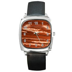 Red Earth Natural Square Metal Watch by UniqueCre8ion