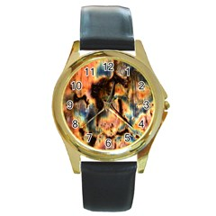 Naturally True Colors  Round Gold Metal Watch by UniqueCre8ions
