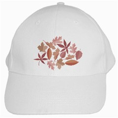 Marsala Leaves Pattern White Cap by sifis
